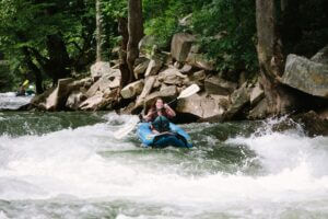 girl rafting on a river