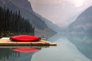 red kayak boat