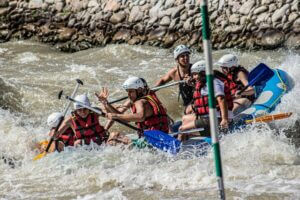 young people rafting