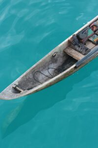 wooden kayak boat